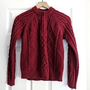 ll bean classic red cable knit zip neck sweater